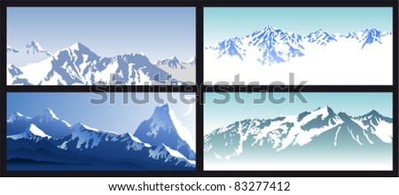 Vector set of Winter Mountains - stock vector