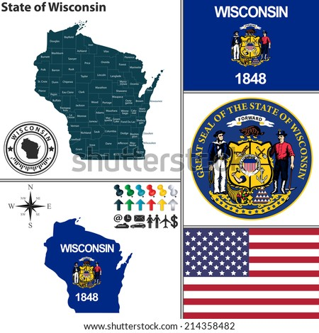 Vector set of Wisconsin state with seal and icons on white background - stock vector