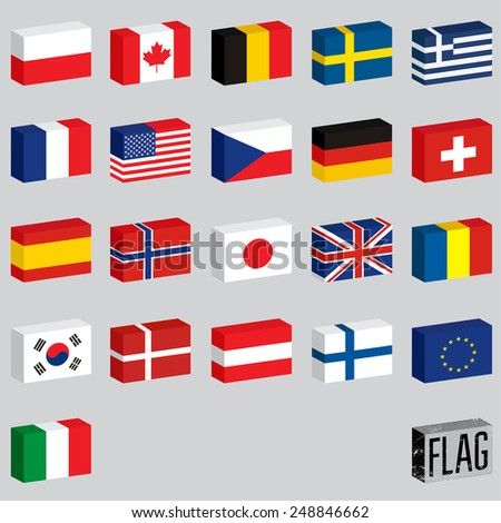 Vector set of world flags. Flags-boxes. - stock vector