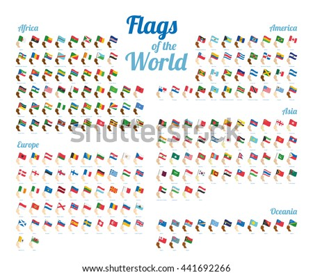 Vector set of world flags isolated on white background. Complete collection. High detail. - stock vector