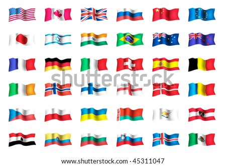 Vector set of world flags: USA, United kingdom, Canada, Russia, Japan, Brazil, Israel, France, Spain, Germany, Italy, Euro, India. File EPS 10 with transparency and overlay - stock vector