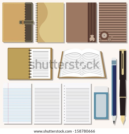 Vector set of writing and painting tools - stock vector