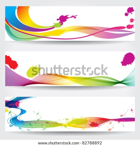 Vector set of 600x160 px colorful grunge style abstract web banners - stock vector