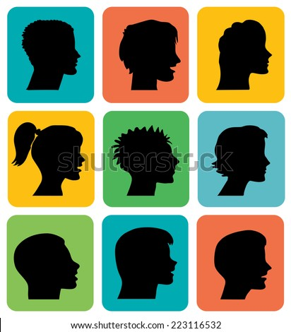 Vector set of young people profiles silhouettes - men women boy girl - hand drawn - stock vector