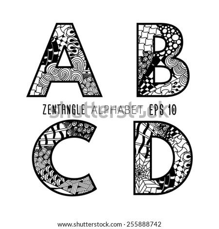 Vector set zentangle letters doodle alphabet stock vector 255888742 vector set of zentangle letters doodle alphabet on plain white background black lace from altavistaventures Gallery