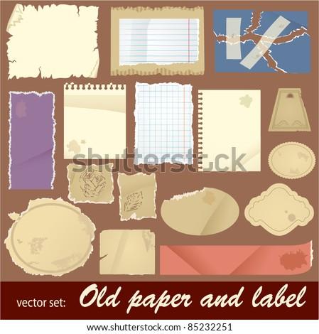 vector set: old paper and label. Vintage elements of digital scrapbooking - stock vector