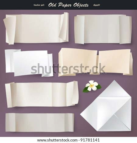 Vector set: Old paper (eps10) - stock vector