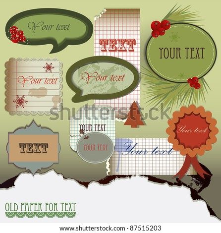 Vector set:  Old paper for text. Christmas design