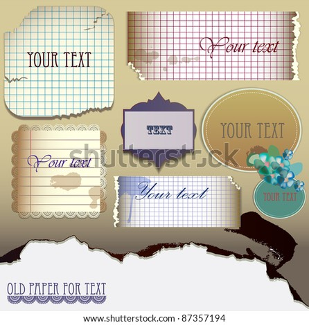 Vector set:  Old paper for text. Vector Illustration - stock vector