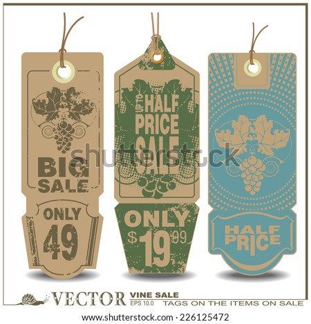 Vector set: on wine labels with a message about the sale - stock vector