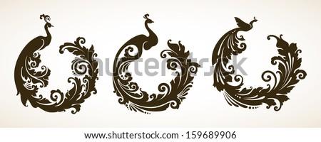 Vector set ornamental frames with decorative birds - stock vector