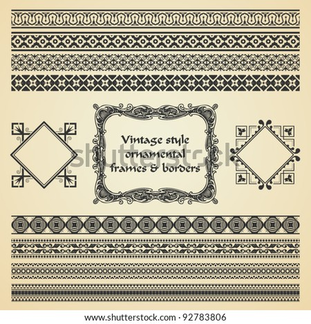 vector set: ornamental vintage style frames and borders - stock vector