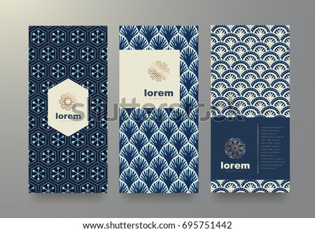 Vector set packaging templates with different texture japan style for luxury products.logo design with trendy linear style.vector illustration