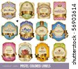 vector set: pastel-colored labels with golden elements - 12 items - stock vector