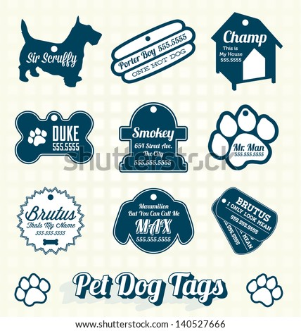 Vector Set: Pet Dog Name Tag Labels and Icons - stock vector