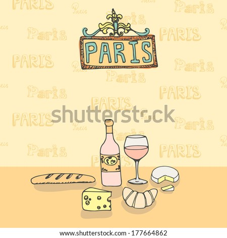 Vector set pf french food including wine, cheese, bread. - stock vector
