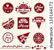 Vector Set: Pizza Pie Labels and Badges with Toppings Elements - stock vector