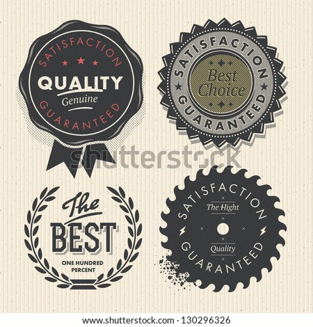 Vector set premium quality and guarantee labels with retro vintage styled design - stock vector