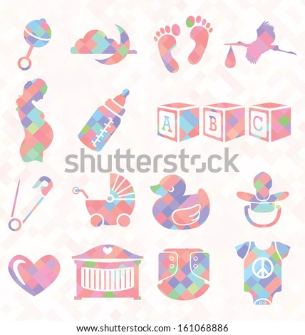 Vector Set: Quilt Pattern Baby Icons - stock vector