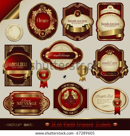 vector set: red and golden labels in different styles - stock vector