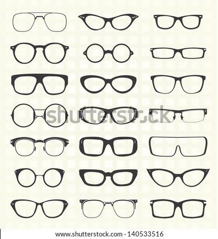 Vector Set: Retro and Modern Eyeglasses - stock vector