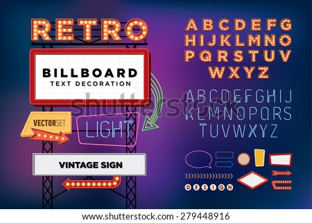Vector set Retro neon sign, vintage billboard, bright signboard, light banner  - stock vector