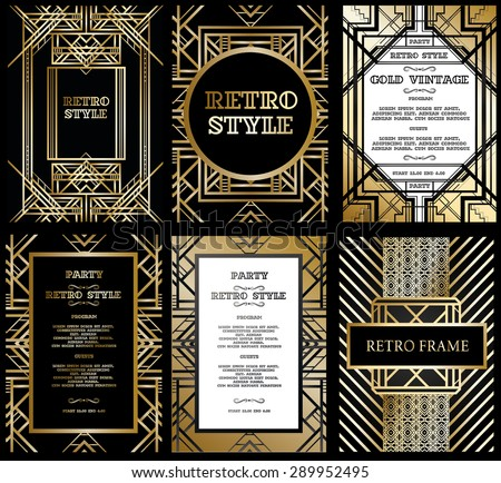 Vector set retro pattern vintage party stock vector hd royalty free vector set retro pattern for vintage party gatsby style stopboris
