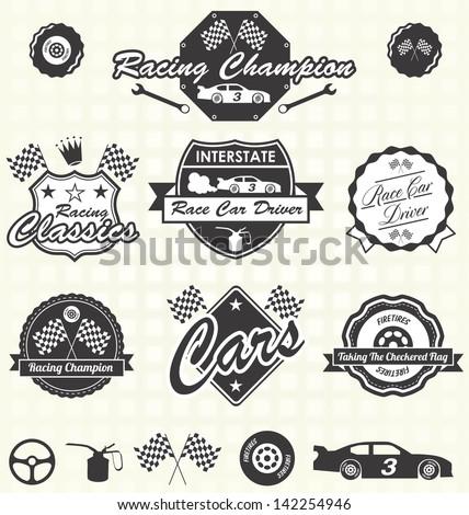 Vector Set: Retro Race Car Driving Champion Labels - stock vector