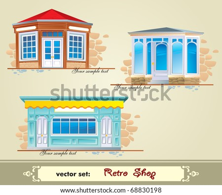 Vector set: Retro Shop - stock vector