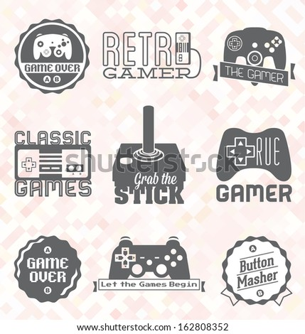 Vector Set: Retro Video Game Labels and Icons - stock vector