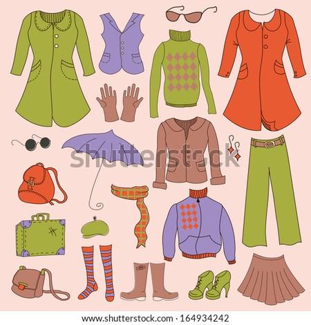 Vector set, retro woman clothes, hipster collection - stock vector