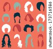 Vector Set: Retro Woman's Hair Style Silhouettes - stock vector