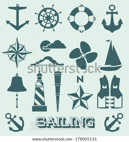 Vector Set: Sailing Icons and Symbols - stock vector