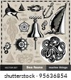 Vector SET - Sea fauna, marine things - stock vector