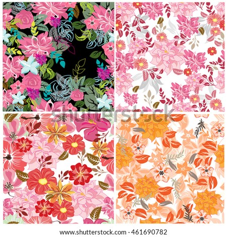 vector set 4 seamless pattern flowers and floral pattern illustration