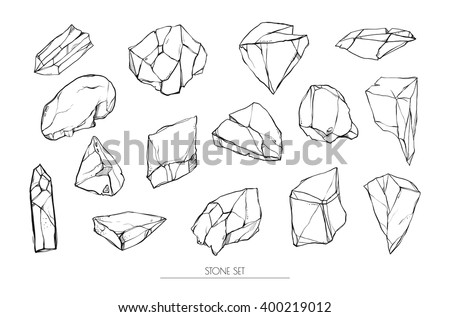Vector set. Set of stones. Different stones isolated on white background.