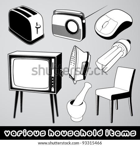 Vector set: several household items - stock vector