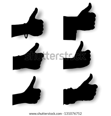 """Vector set silhouette hands thump up, """"Like"""" sign with smooth shadows, isolated on white background - stock vector"""