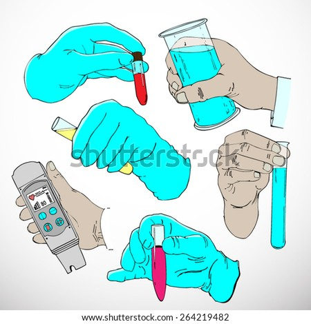 Vector set: Six hand drawn hands doing laboratory work - stock vector