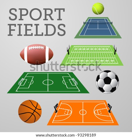 Vector set: sport fields with associated balls - stock vector