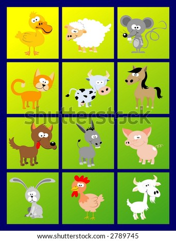 Vector set - stylized domestic animals