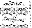 Vector set swirling decorative floral elements ornament. Wedding, lace, border seamless pattern - stock vector