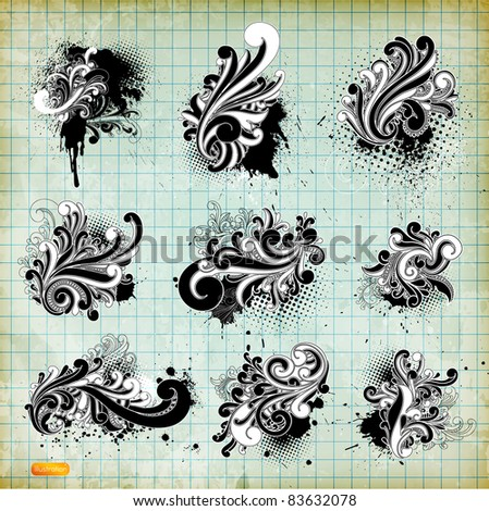 vector set: swirls - variety of handdrawn floral design elements - stock vector