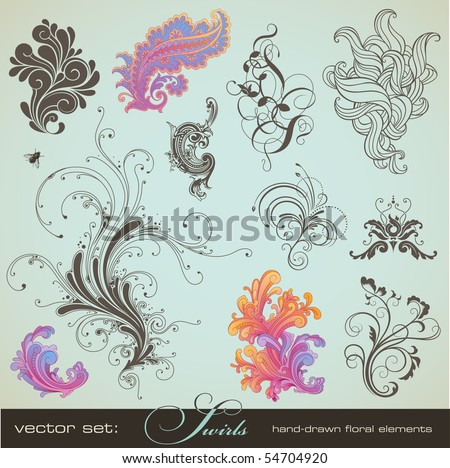vector set: swirls - variety of handdrawn floral design elements in different styles - stock vector