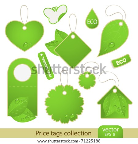 Vector set: tags - ECO, 11 items - stock vector