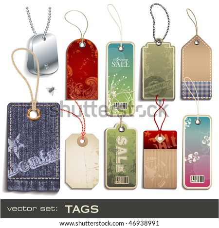 vector set: tags - 10 items - stock vector