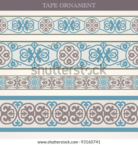 Vector set tape ornament old style - stock vector
