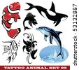 vector set: templates Fish for tattoo and design on different topics - stock vector