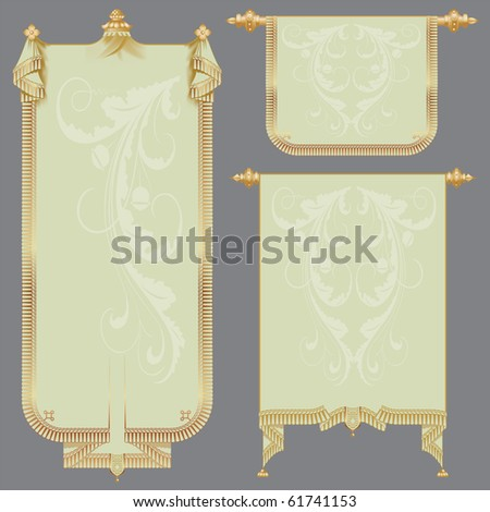 vector set: the ancient scrolls of gold for festive and luxury decoration - stock vector