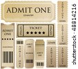 vector set: tickets in different styles - stock vector